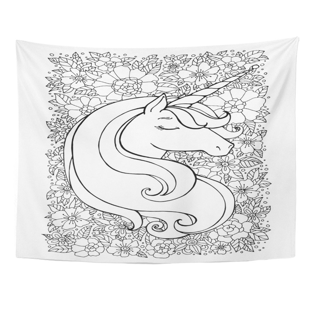 ZEALGNED Unicorn Flower Floral Magical Black And White Coloring Book Pages  For Adults Wall Art Hanging Tapestry Home Decor For Living Room Bedroom  Dorm 60x80 Inch - Walmart.com - Walmart.com