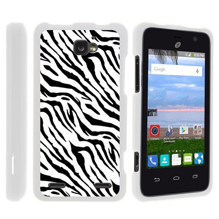 ZTE Paragon Z753G, ZTE Zephyr Z752C, ZTE Sonata 2, [SNAP SHELL][White] 2 Piece Snap On Rubberized Hard White Plastic Cell Phone Case with Exclusive Art - Zebra Pattern Cell Phone Case Pattern