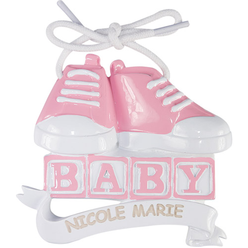 Personalized Pink Baby Shoes Christmas Ornament