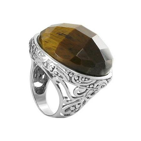 925 Sterling Silver Brown Tiger Eye Gemstone Ring