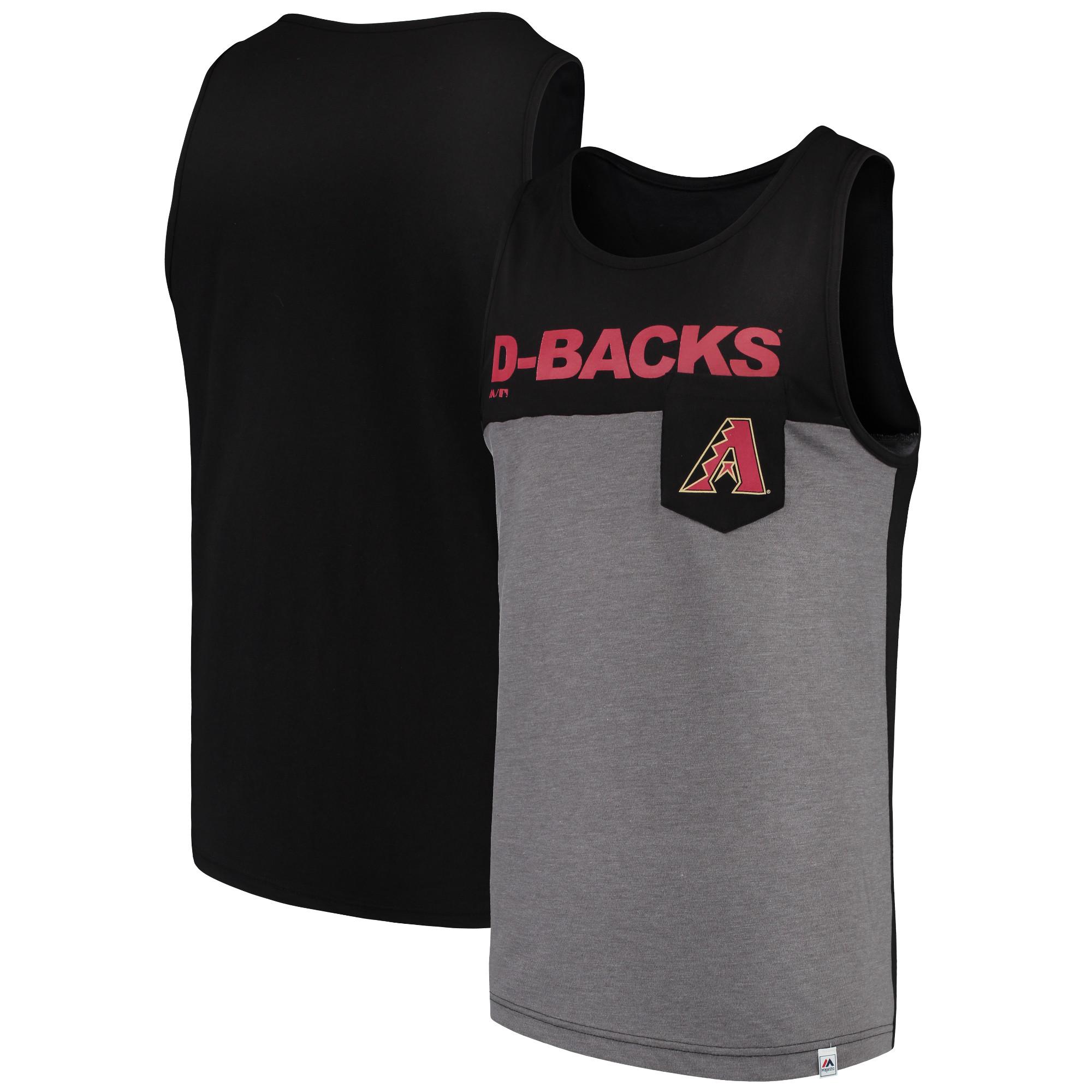 Arizona Diamondbacks Majestic Throw the Towel Pocket Tank Top - Black/Gray