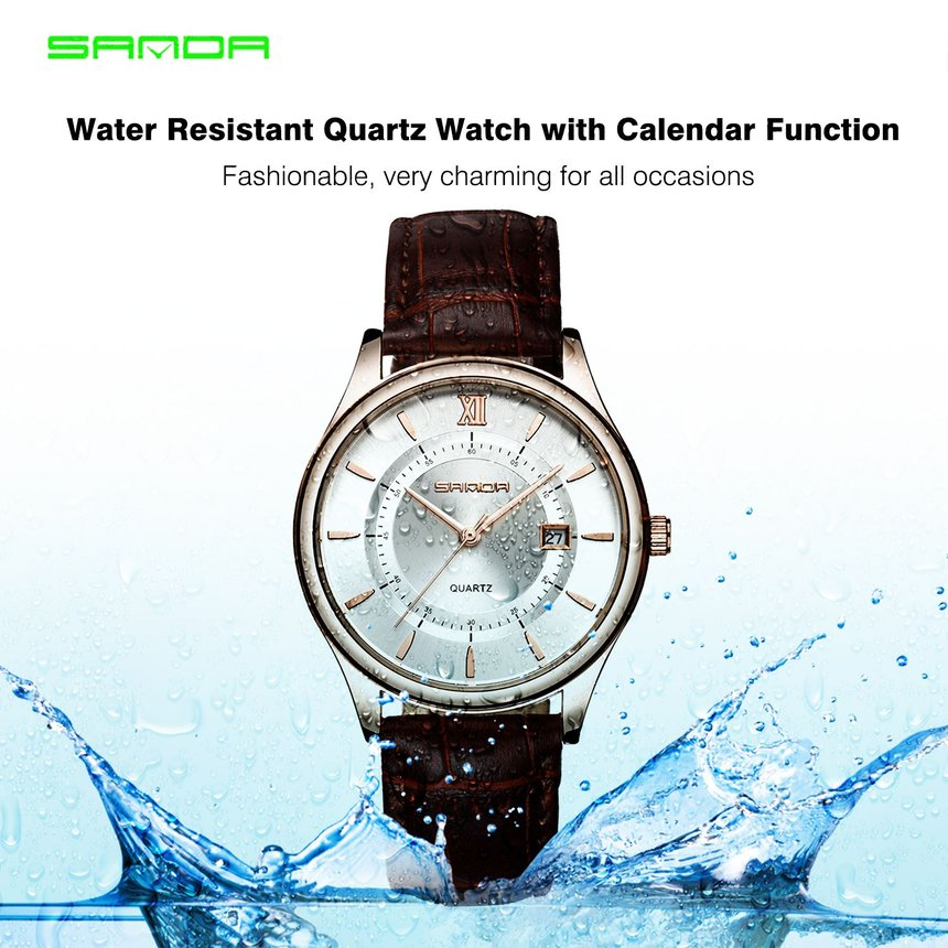 Water Resistant Quartz Watch with Calendar Function with Leather Band for Men