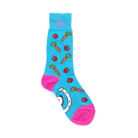Ovation Children's Novelty Lucky Horsehoes Crew Socks (Turquoise/LtPink)