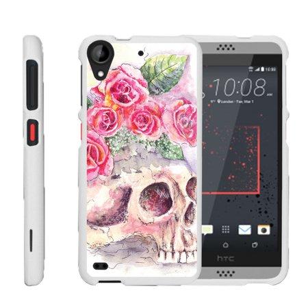 Htc Desire 530   Desire 630   Snap Shell  White  Hard White Plastic Case With Non Slip Matte Coating With Custom Designs   Flower Skull