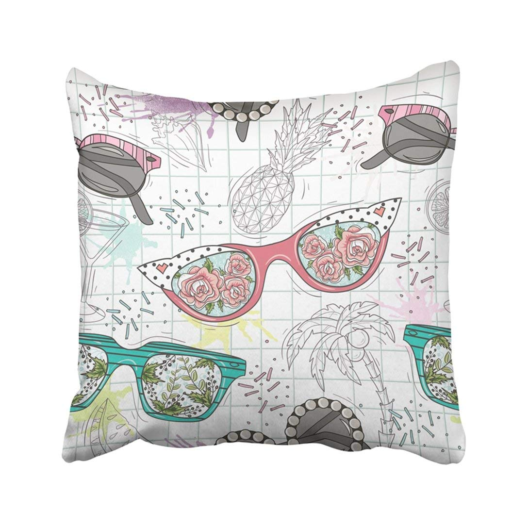 WOPOP Colorful Flower Cute Summer Abstract Pattern With Sunglasses Fun Hipster Pink Glasses Teen Pillowcase Throw Pillow Cover 18x18 inches