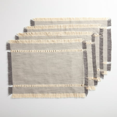 Fringe Placemats - Better Homes & Gardens Gray Woven Placemat with Fringe, Set of 4