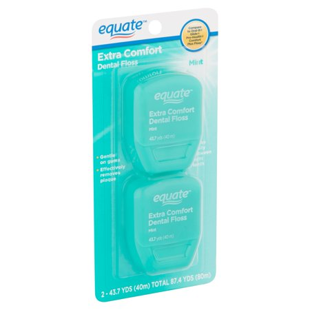 (2 pack) Equate Extra Comfort Mint Dental Floss, 40 M, 2 Count (Compare to Oral-B Glide Pro-Health Comfort Plus Mint (Floss Jumbo Pack)