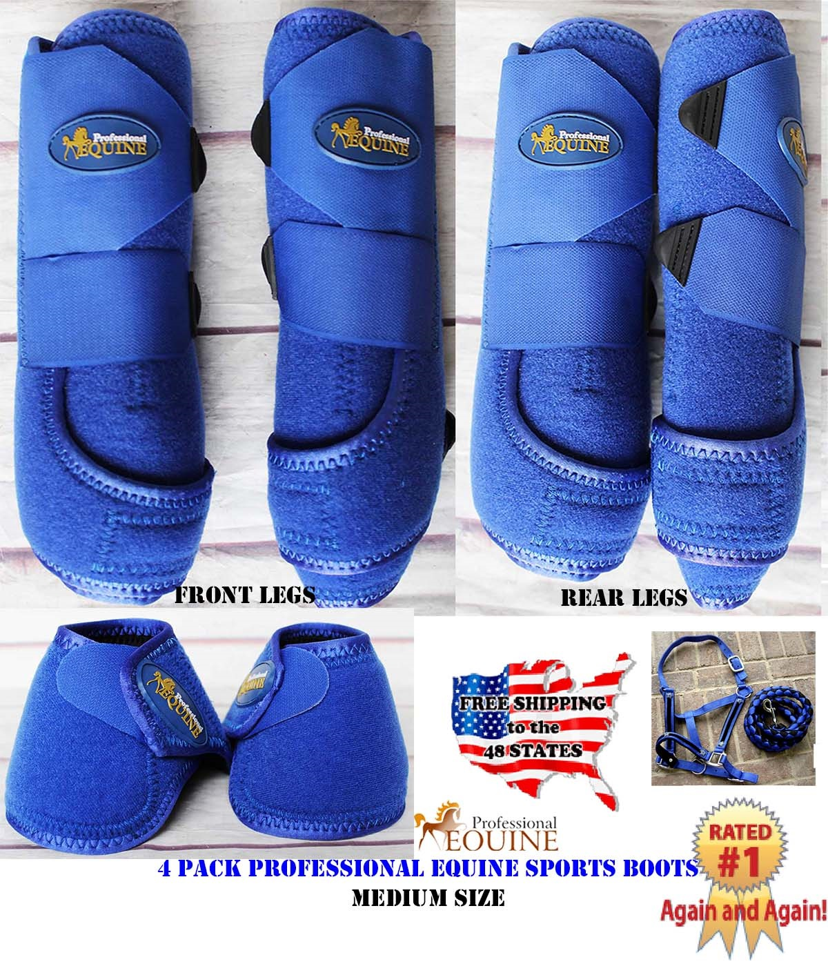 Horse Professional Equine Sports Medicine Splint Bell Boots Blue COMBO 41BLA by
