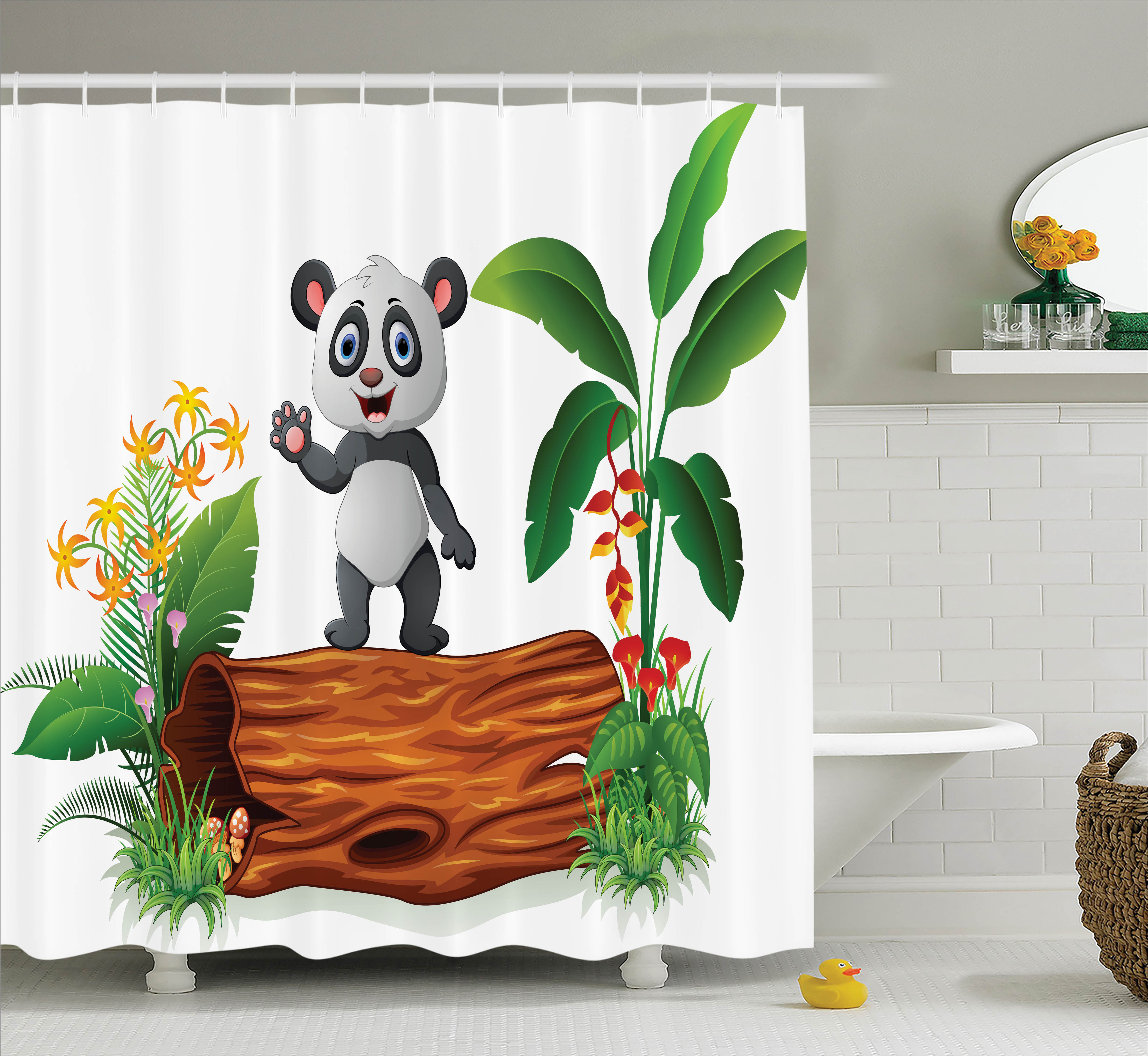 Animal Shower Curtain Set, Cute Baby Panda Standing on a ...