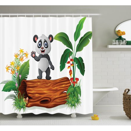 Animal Shower Curtain Set, Cute Baby Panda Standing on a Tree Trunk Tropical Flowers Big Leaves Colorful Art, Bathroom Decor, Green Brown, by Ambesonne