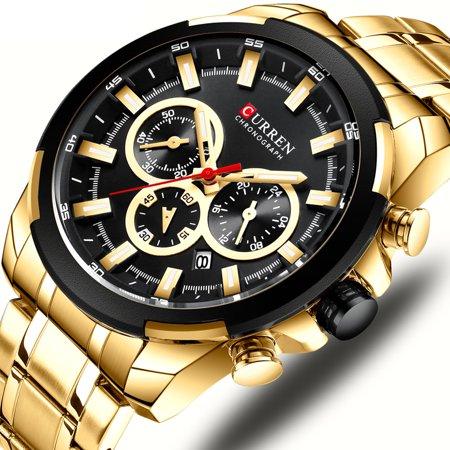 CURREN 8361 Montre-bracelet à quartz pour homme Montre homme avec indicateur de date Date Aiguilles lumineuses étanches Trois sous-cadrans Deuxième minute Microsecond seconde Chronographe Bracelet en - image 2 of 7