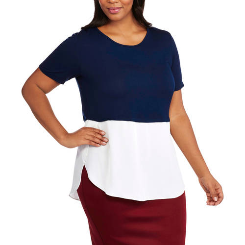 Glamour and Co. Women's Plus-Size Short Sleeve Color block Tunic