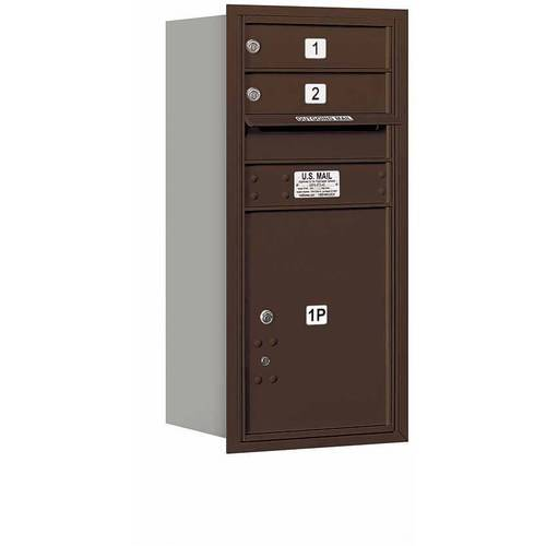 "Salsbury Industries 4C Horizontal Mailbox 9-Door High Unit (34""), Single Column, 2 MB1 Doors, 1 PL5, Aluminum, Rear Load, Private Access"