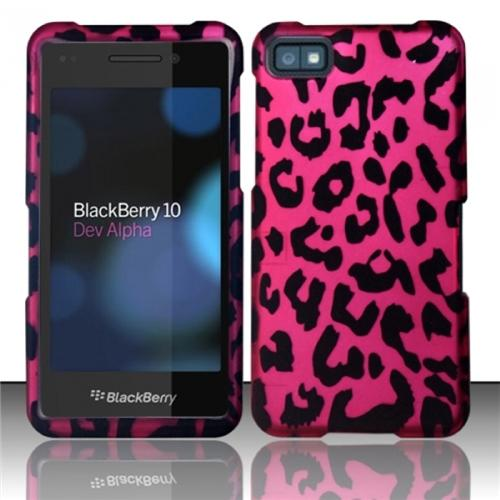 Insten Pink Leopard Rubberized Hard Design Cover Case For Blackberry Z10