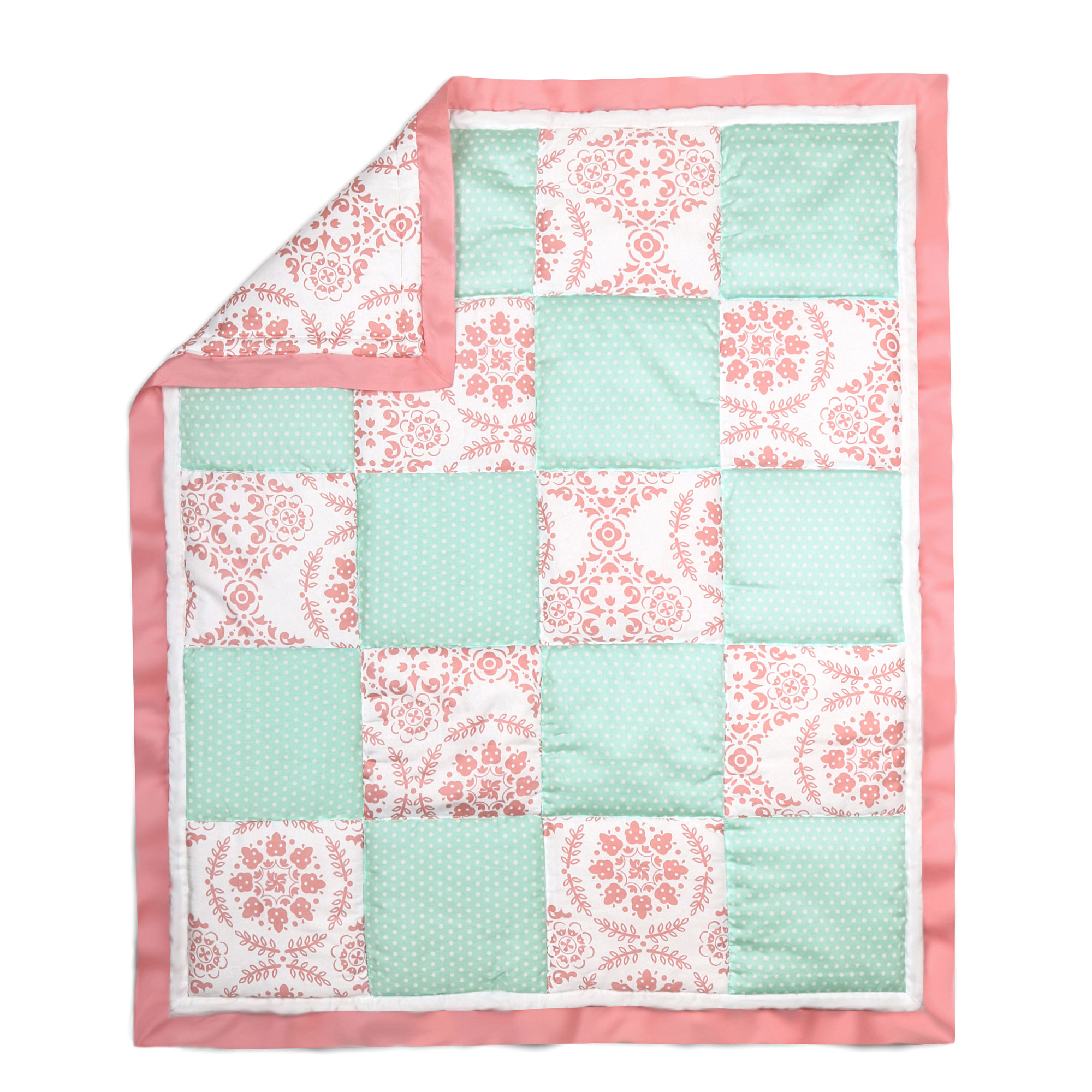 The Peanut Shell 3 Piece Baby Crib Bedding Set Mint Green Dot and