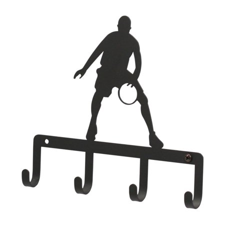 Sterling Iron Basketball (7.75 Inch Basketball Player Key Holder, Perfect gift for those that love keychain By Village Wrought Iron )