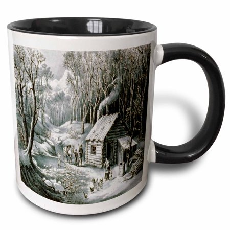 3dRose Vintage Currier and Ives Wilderness Log Cabin Woods - Two Tone Black Mug, 11-ounce
