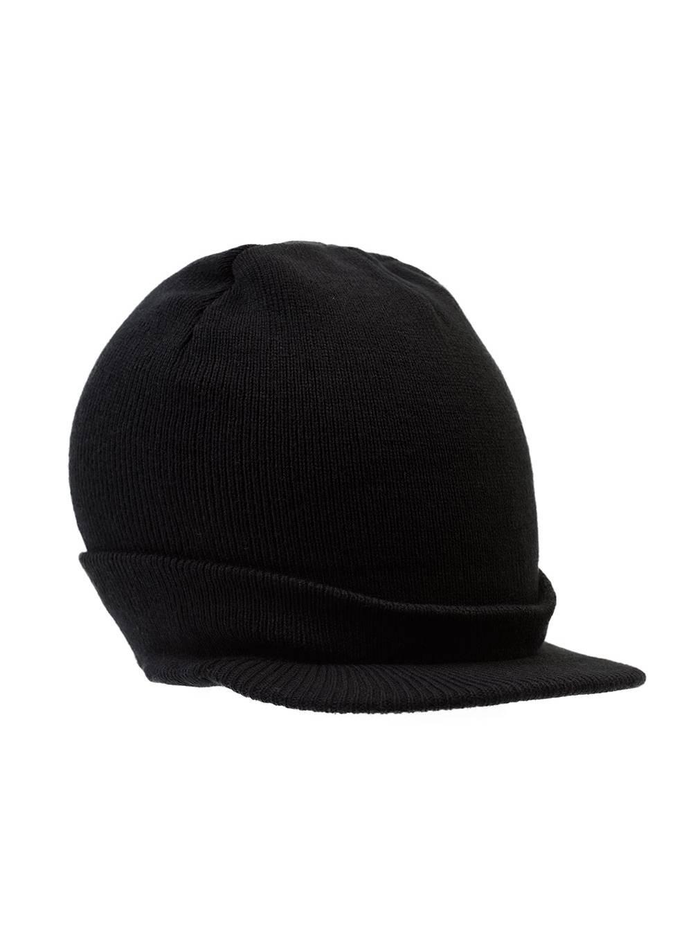 Beanie Hat with Bill Knit Cap - Black 653d36a213f