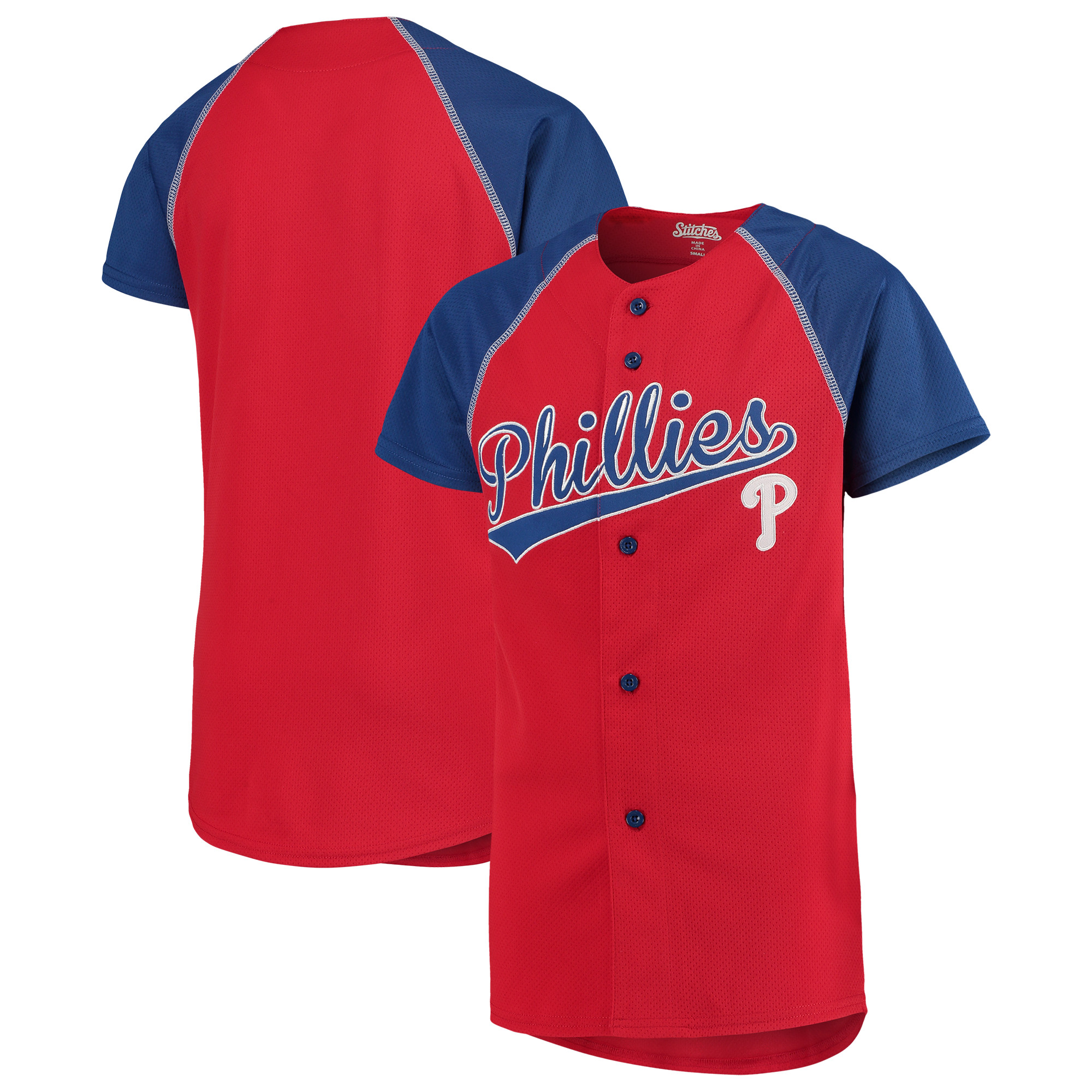 Philadelphia Phillies Stitches Youth Team Jersey - Red/Royal