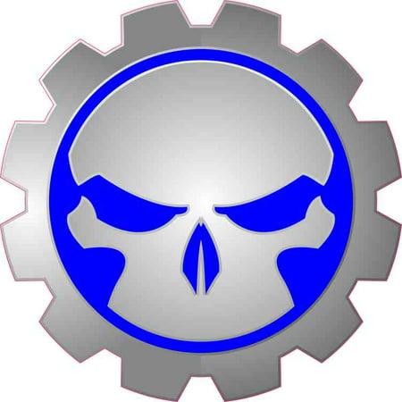 5x5 Blue Gear Skull Bumper Sticker Car Vinyl Truck Window Stickers Decal Decals