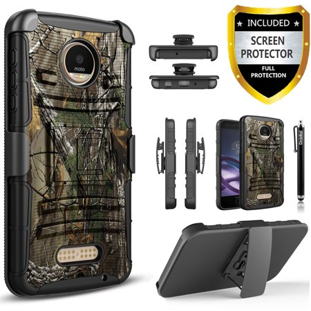 big sale 74ded 981a6 Moto Z2 Force Case, Moto Z2 Force Edition Case, Dual Layers [Combo Holster]  Case And Built-In Kickstand Bundled with [Premium Screen Protector] Hybird  ...