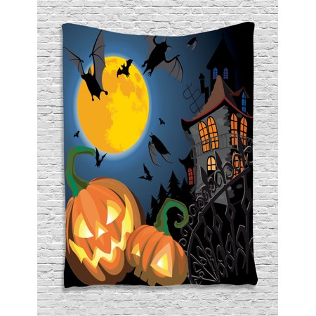 Halloween Decorations Tapestry, Gothic Halloween Haunted House Party Theme Decor Trick or Treat for Kids, Wall Hanging for Bedroom Living Room Dorm Decor, 60W X 80L Inches, Multi, by Ambesonne