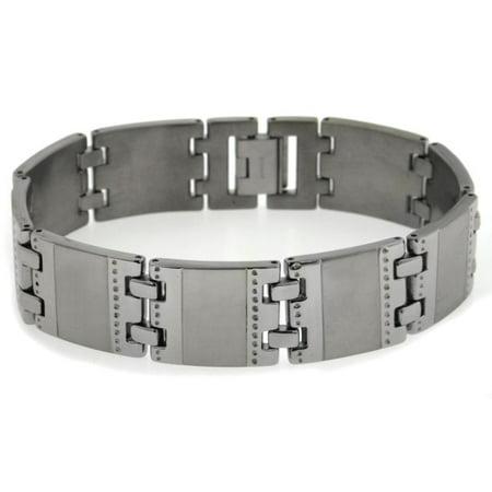 Brushed Mens Link Bracelet - Mens Rugged Extra-Wide Brushed Matte 8.5
