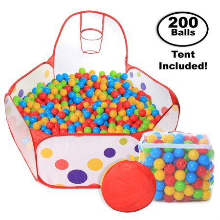 Pop Up Kids Ball Pit, Bundle Combo with 200 Colored Plastic Balls (BPA Free) Playing Tent with Basketball Hoop Ideal for Fun, Education and Therapy for Toddlers, Babies, kids Indoor/Outdoor - Pit Bull Stand