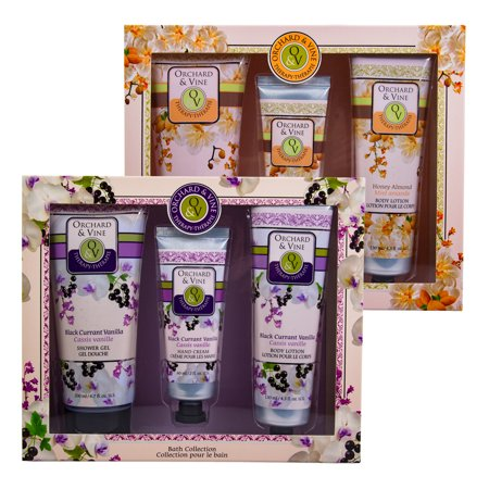 2 Pack Orchard & Vine 3pc Therapy Bath Gift Sets Honey Almond Black Currant -