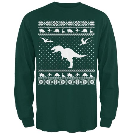 Dinosaurs Ugly XMAS Sweater Forest Adult Long Sleeve T-Shirt