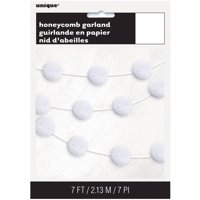 Tissue Paper Honeycomb Ball Garland, 7 ft, White, 1ct