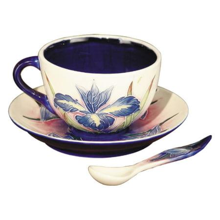 Springdale Lighting Iris Hand Painted Porcelain Cup and Saucer (Iris Tea Saucer)