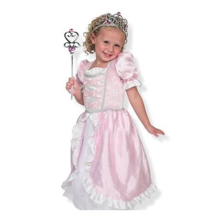 Melissa & Doug Princess Role Play Costume Set (3 pcs)- Pink Gown, Tiara, Wand](Costume For Three People)