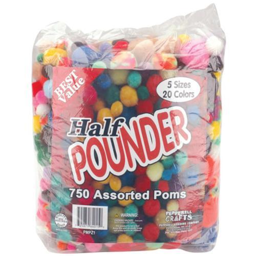 Pom Poms Assorted 750/Pkg-Standard Colors
