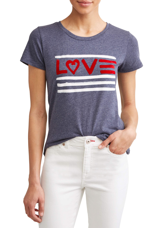 c6973d21d Ev1 From Ellen Degeneres - Love Flag Short Sleeve Graphic Tee Women's -  Walmart.com