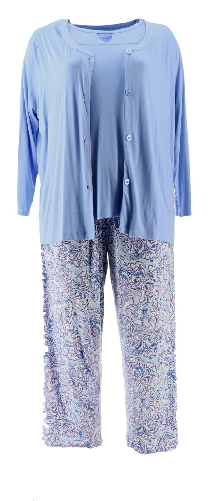 Carole Hochman Batik Floral Rayon Spandex 3 Pc Pajama Set Peri 2X NEW A346781