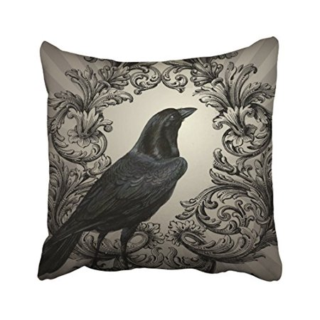 WinHome Modern Vintage Halloween Crow Throw Pillow Covers Cushion Cover Case 20x20 Inches Pillowcases Two Side