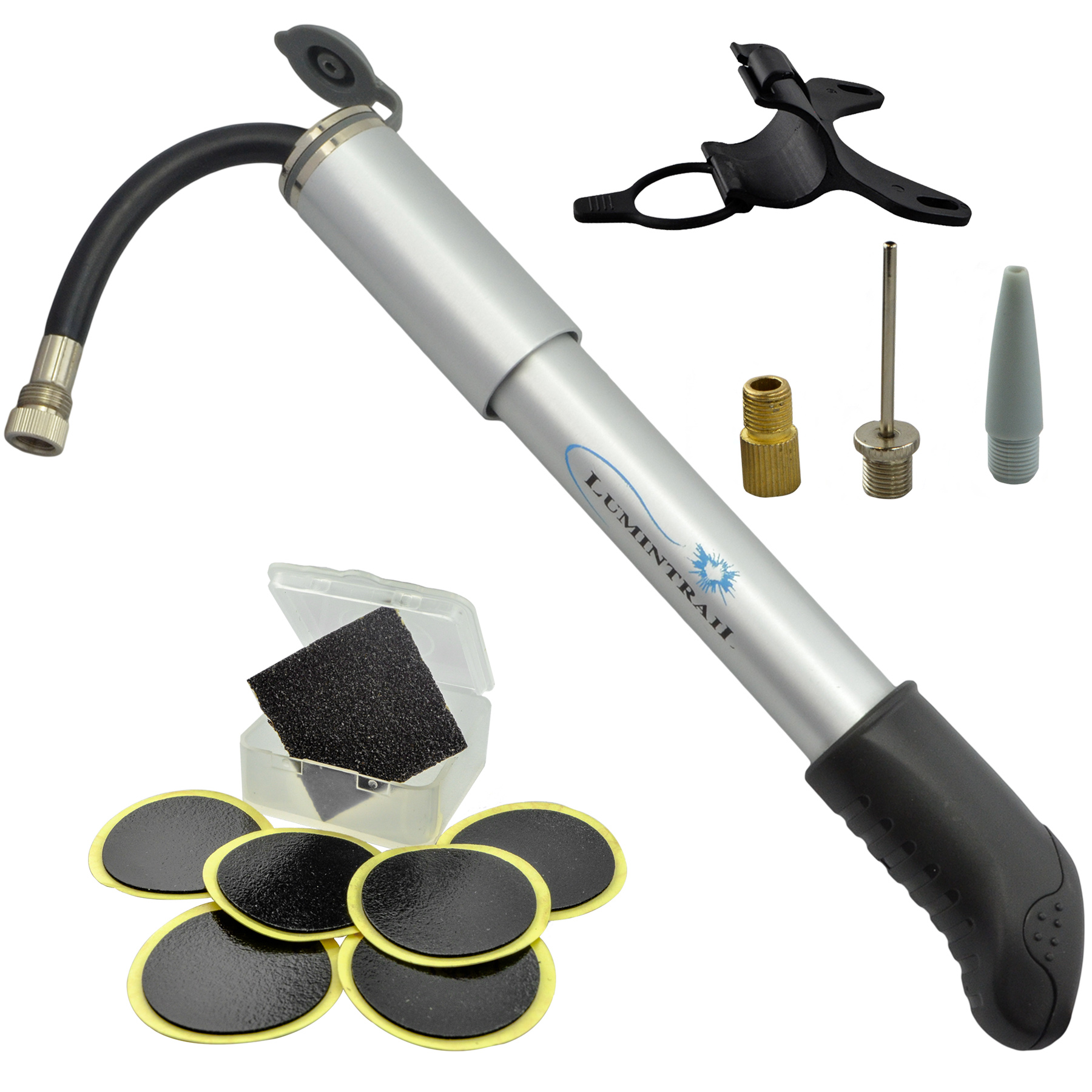 Lumintrail Mini Bike Pump and Glueless Puncture Repair Kit For Presta & Schrader w/ Retractable Hose, Frame Mount