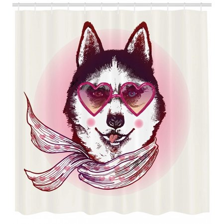 Cartoon Shower Curtain, Hipster Husky Dog with Hearts Sunglasses and Scarf Fashion Animal Art Print, Fabric Bathroom Set with Hooks, Pink Cream Black, by Ambesonne