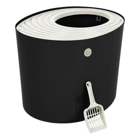 IRIS USA Top Entry Cat Litter Box, Black/White (Litter Box Top Entry)
