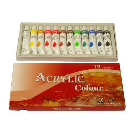 Zen Art Supply 12 Pack ACRYLIC PAINTS 12 ml Rainbow Pigments Artist Painting