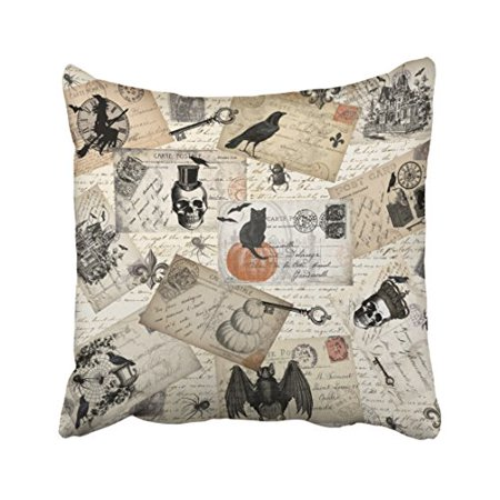 WinHome Modern Vintage Halloween Postcards Throw Pillow Covers Cushion Cover Case 18x18 Inches Pillowcases Two Side](Ebay Postcards Vintage Halloween)