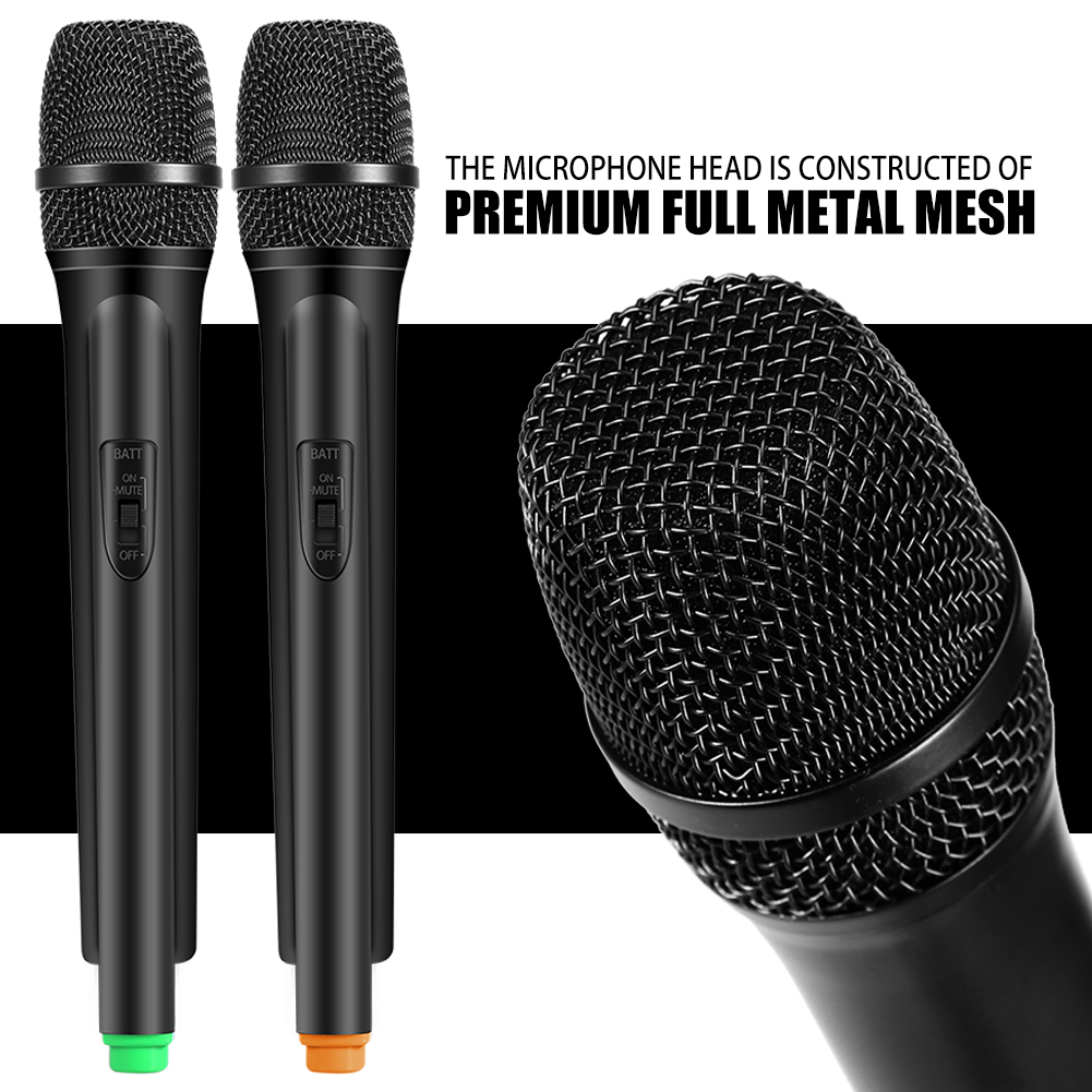 eecoo dual handheld wireless dynamic microphones lcd receiver system for karaoke singing. Black Bedroom Furniture Sets. Home Design Ideas