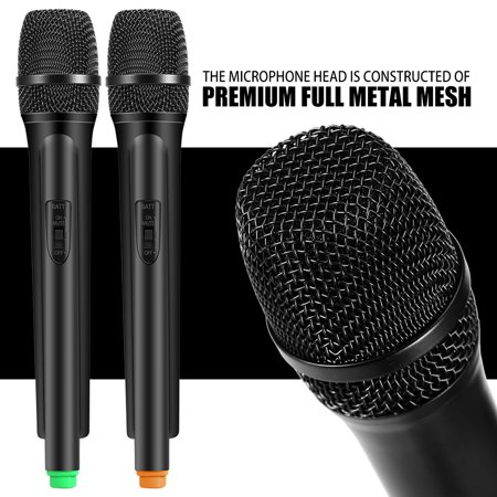 EECOO Dual Handheld Wireless Dynamic Microphones + LCD Receiver System for Karaoke Singing Speech ,Dual Wireless Microphone System,Wireless Microphone (Best Wireless Headset Microphone For Singing Live)