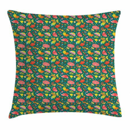 Cushion Cut Color Change (Acorn Throw Pillow Cushion Cover, Season Change Raining in Autumn Pattern with Raindrops Umbrellas and Forest Elements, Decorative Square Accent Pillow Case, 16 X 16 Inches, Multicolor, by)