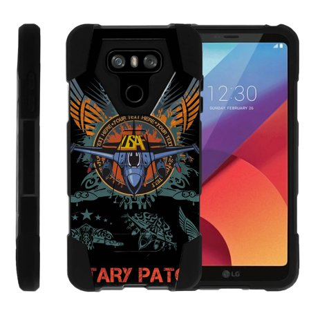 TurtleArmor ® | For LG G6 | LG G6+ (Plus) [Dynamic Shell] Dual Layer Hybrid Silicone Hard Shell Kickstand Case - Air Force Patch](Air Kicks)