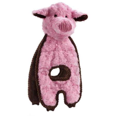 Charming Pet Cuddle Tugs Polyester Soft And Durable Squeaker Peachy Pig Dog Toy  16 Inch