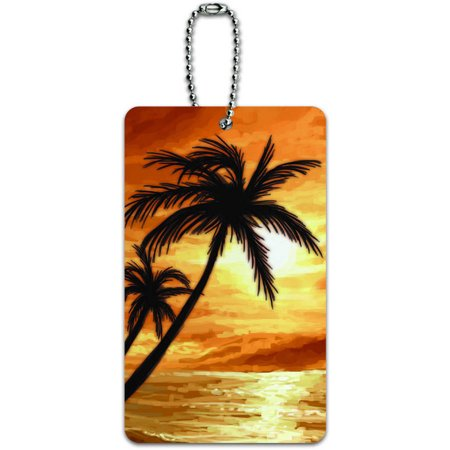 - Palm Trees And Sunset Orange Beach Tropical Ocean ID Tag Luggage Card for Suitcase or Carry-On