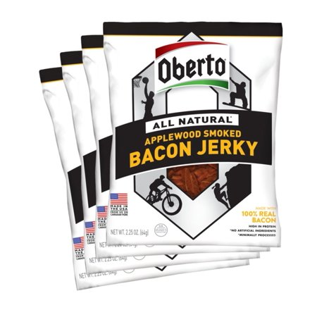 Oberto All-Natural Applewood Smoked Bacon Jerky, 2.5 Ounce (Pack of 4) Standard (Pack of (Best Applewood Smoked Bacon)