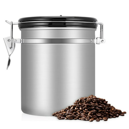 Coffee Canister Airtight,CO2 Valve Maximizes Freshness,Stainless Steel,Airtight Design,Holds Ground Coffee or Whole Beans(1.5L/1.8L)